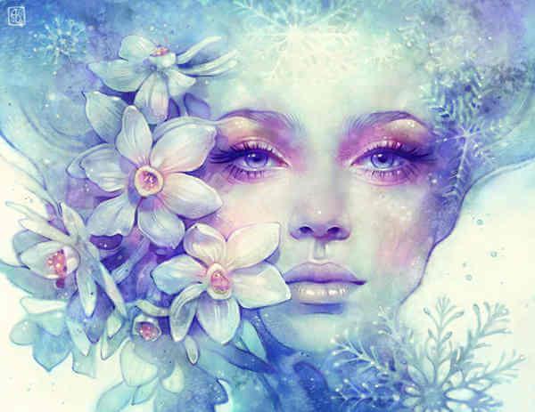 白い花と女性の顔