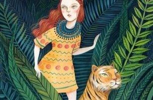 ジャングのに少女とトラ