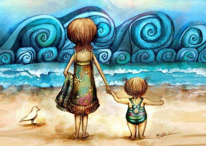 ビーチで高波を見つめる親子