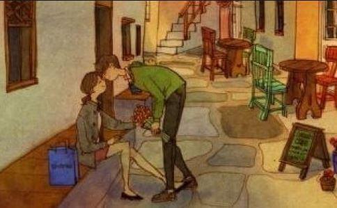 道でキスするカップル