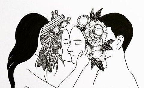 顔の下にサボテンを隠す女性と花を隠す男性