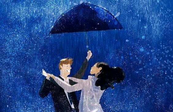 傘をさして雨の中踊る男女
