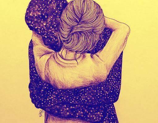 抱き合う女性と黒い男性の影