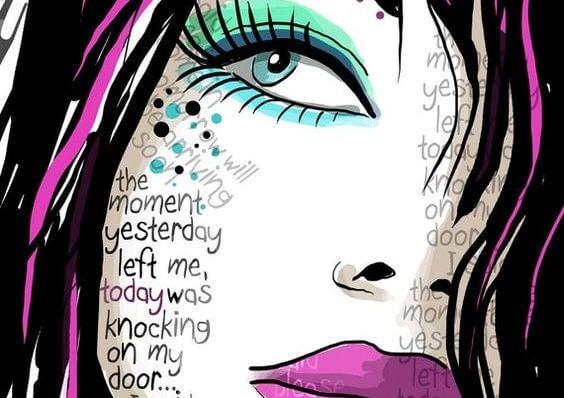 女性の顔に現れる言葉