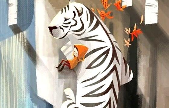 白いトラと男の子