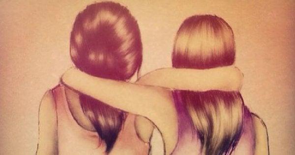 肩を組む二人の少女