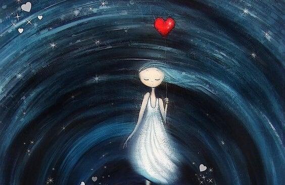 宇宙で風船を持つ少女
