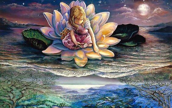 ハスの花の上に座る少女