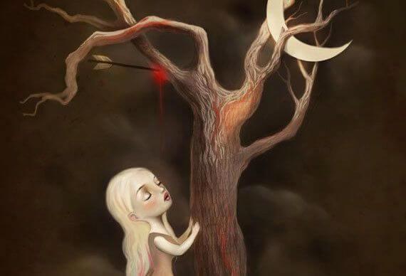 少女と矢に射られて血を流す木