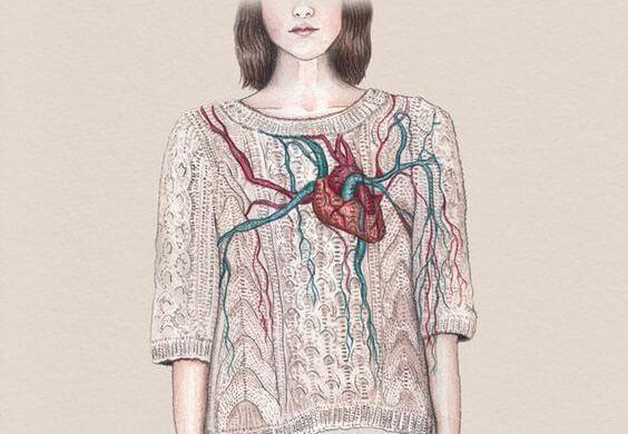 心臓の映ったセーター