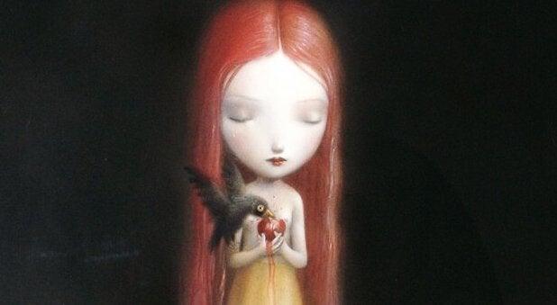 悲しむ赤毛の少女
