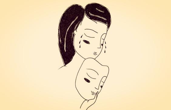 仮面の裏で涙を流す女性