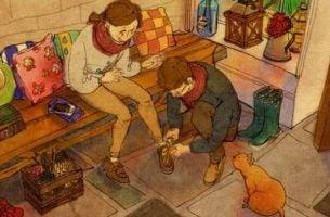 靴を履くのを手伝うカップル