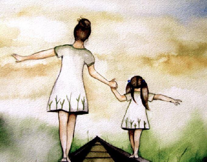 白い服の母娘