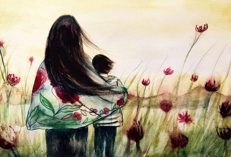 花に囲まれた母と子