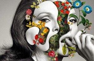 中から花が出てくる女性の顔
