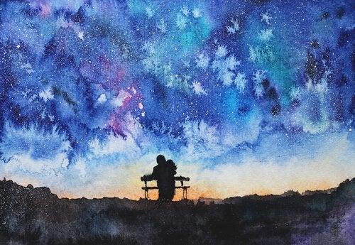 夜空の下の二人