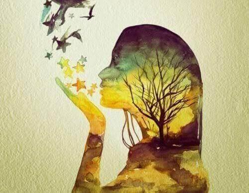 少女の影に映る木