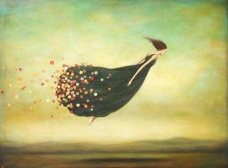空飛ぶ女性