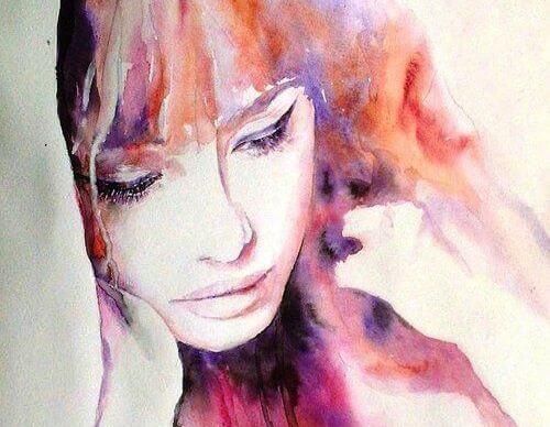 水彩画の女性