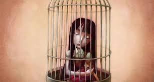 鳥かごの女性