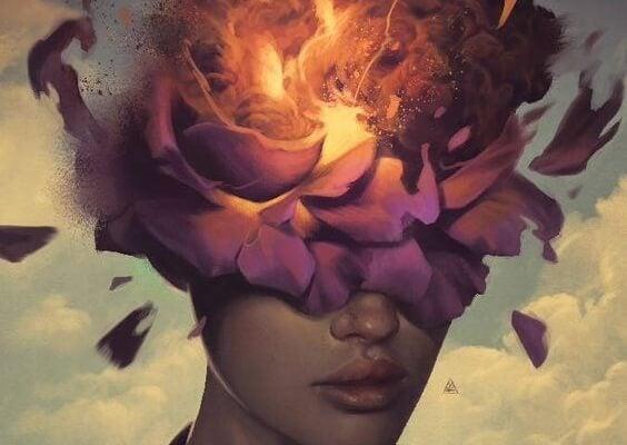 頭が噴火する女性