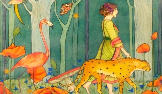 チーターとフラミンゴを連れた女性