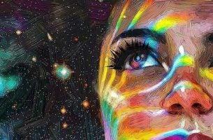 宇宙をバックに女性の視線