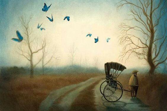 人力車と青い蝶