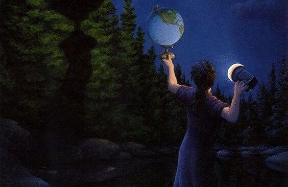 地球儀を照らす