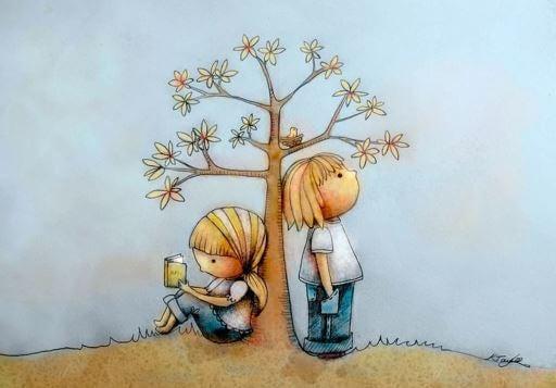 木のそばの二人の子供