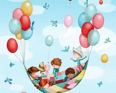 風船で空を飛ぶ子供たち