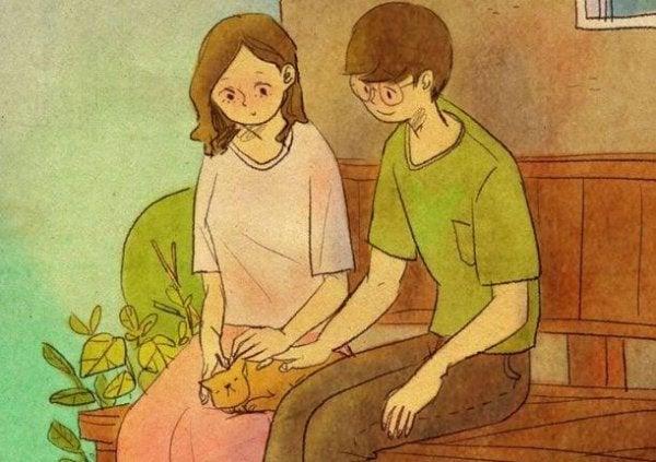 猫とカップル