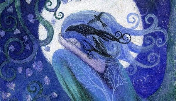 青い女性と鳥