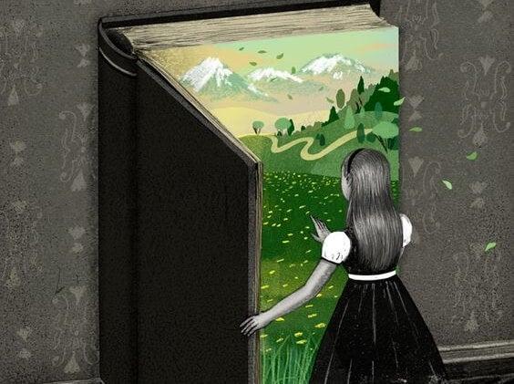 本のドアを開ける少女