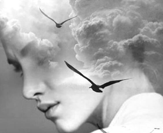 女性の顔と空を飛ぶ鳥