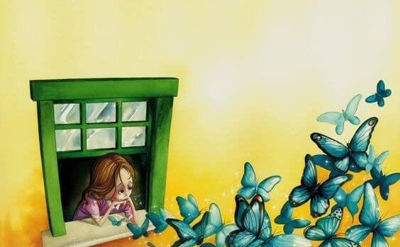 窓の外を眺める少女と青い蝶の群れ