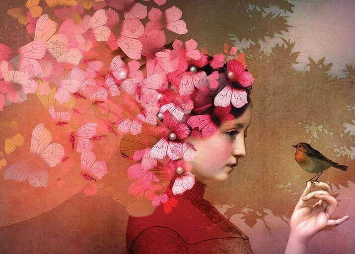 髪が蝶で、手に鳥を乗せた少女