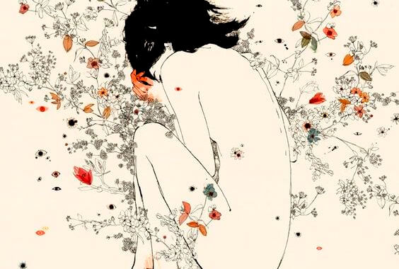 花に囲まれた裸の少女