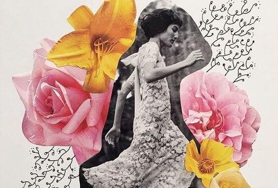 走る女性と花のコラージュ