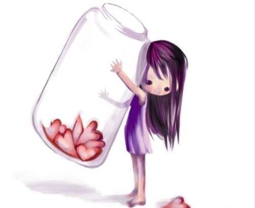 ハートの入った瓶を抱える少女