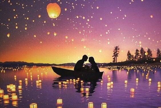 湖の上のランタンとボート