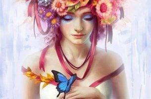 頭が花でいっぱいの女性