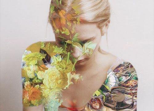 女性に映る花
