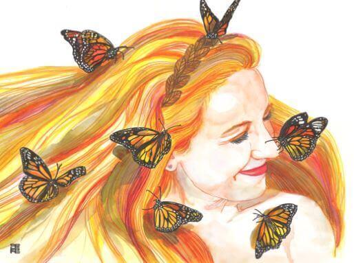 金髪の女性に集まる蝶
