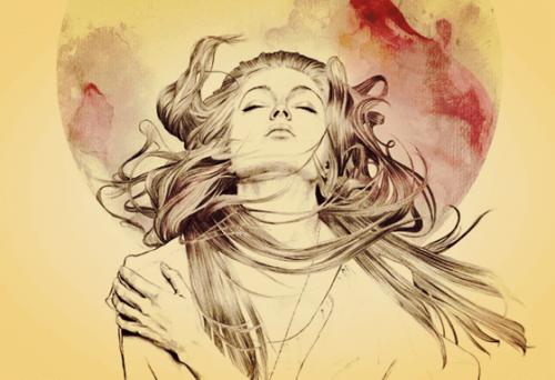 風を受ける女性