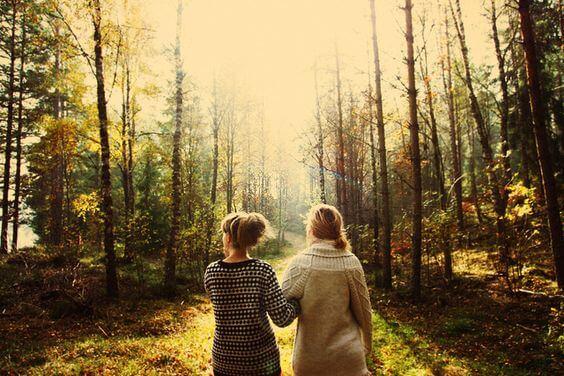 森を歩く二人の友人