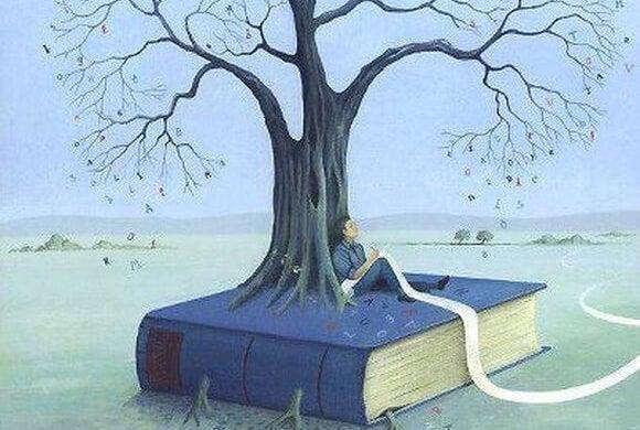 本から生えた木