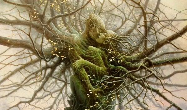 抱き合う二人の木