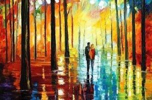 カラフルな森の中を歩く二人